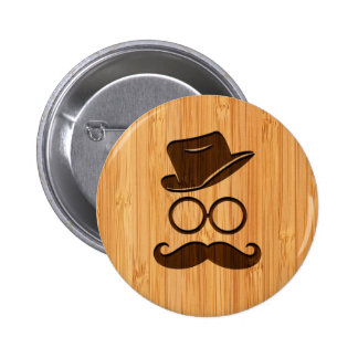 Bamboo Look & Engraved Retro Mustache Hat Glasses 6 Cm Round Badge