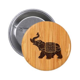 Bamboo Look & Engraved Retro Thai Elephant 6 Cm Round Badge