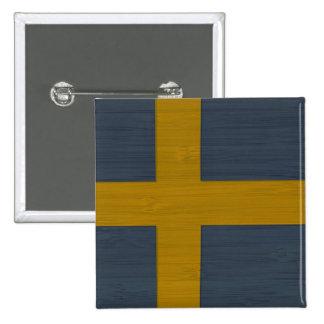 Bamboo Look & Engraved Sweden Swedish Sverige Flag 15 Cm Square Badge