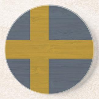 Bamboo Look & Engraved Sweden Swedish Sverige Flag Drink Coaster