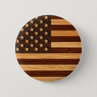 Bamboo Look & Engraved Vintage American USA Flag 6 Cm Round Badge
