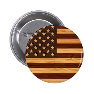 Bamboo Look & Engraved Vintage American USA Flag Pinback Button