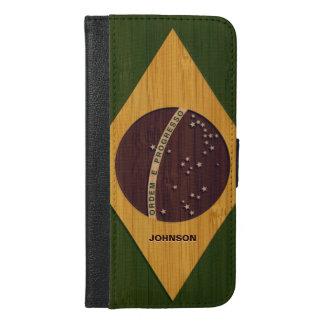Bamboo Look & Engraved Vintage Brazil Flag