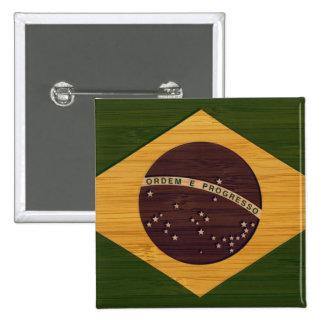 Bamboo Look & Engraved Vintage Brazil Flag 15 Cm Square Badge