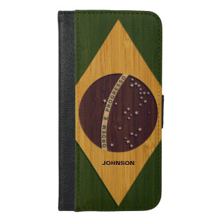 Bamboo Look & Engraved Vintage Brazil Flag iPhone 6/6s Plus Wallet Case