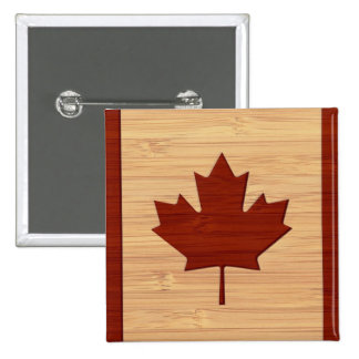 Bamboo Look & Engraved Vintage Canada Flag 15 Cm Square Badge