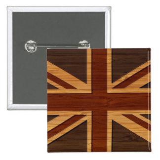 Bamboo Look & Engraved Vintage UK Flag Union Jack Pins