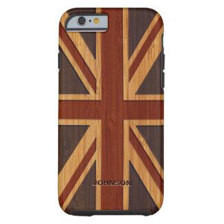 Bamboo Look & Engraved Vintage UK Flag Union Jack Tough iPhone 6 Case