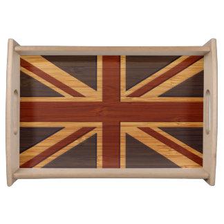 Bamboo Look & Engraved Vintage UK Flag Union Jack Service Tray