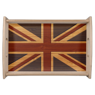 Bamboo Look & Engraved Vintage UK Flag Union Jack Serving Tray
