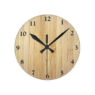 Bamboo-Look Round Clock