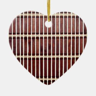 bamboo mat texture ceramic heart decoration