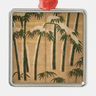 Bamboo, Momoyama Period Silver-Colored Square Decoration