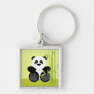 Bamboo Panda Bear Silver-Colored Square Key Ring