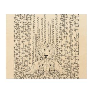 Bamboo Panda Doodle 5 Wood Canvas