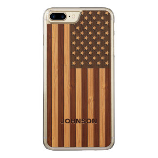 Bamboo Pattern Engraved Vintage American USA Flag Carved iPhone 8 Plus/7 Plus Case