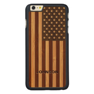 Bamboo Pattern Engraved Vintage American USA Flag Carved Maple iPhone 6 Plus Case