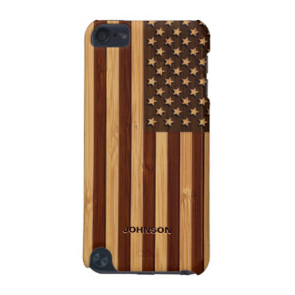 Bamboo Pattern Engraved Vintage American USA Flag iPod Touch 5G Cases