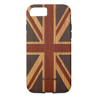 Bamboo Pattern Engraved Vintage UK Flag Union Jack iPhone 8/7 Case
