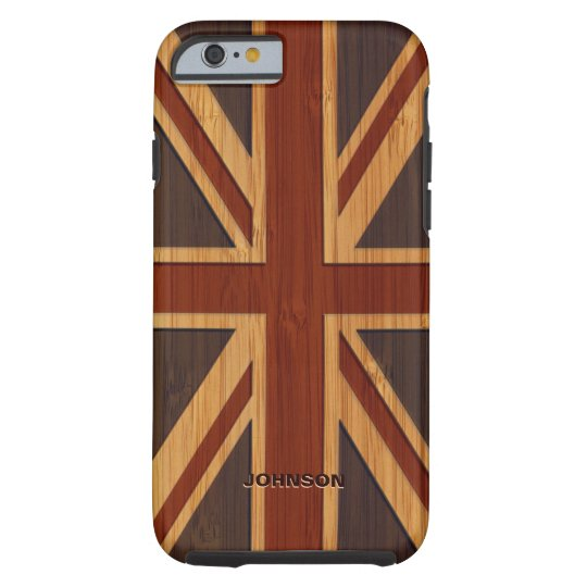 Bamboo Pattern Engraved Vintage UK Flag Union Jack