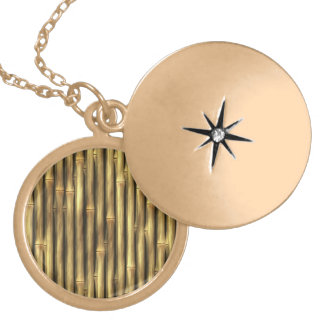 Bamboo Poles Patterned Round Locket Necklace