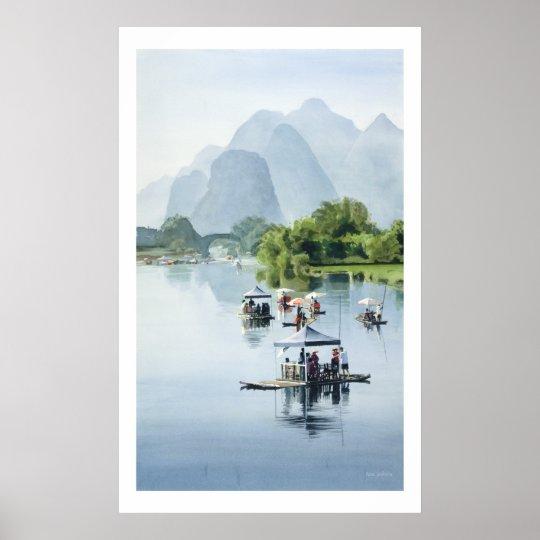 """""""Bamboo Rafting to Shangri La"""" China Watercolor Poster"""