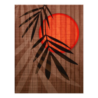 Bamboo & Red Moon Tropical Customized Template 21.5 Cm X 28 Cm Flyer