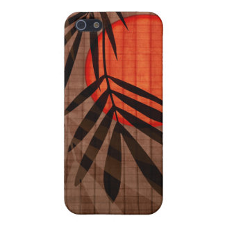 Bamboo & Red Moon Tropical Customized Template Covers For iPhone 5