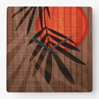 Bamboo & Red Moon Tropical Customized Template Square Wall Clock