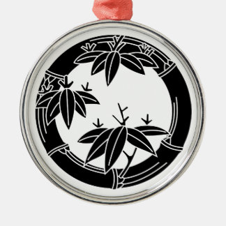 Bamboo ring with bamboo leaves Silver-Colored round decoration
