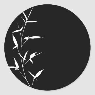 Bamboo Silhouette Background Template Black Blank Round Sticker