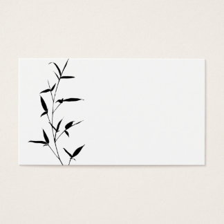 Bamboo Silhouette Background Template Blank Black Business Card