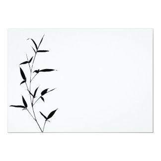 Bamboo Silhouette Background Template Blank Black Card