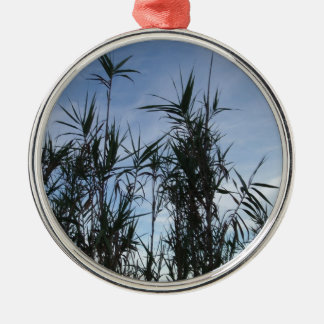 Bamboo. Silver-Colored Round Decoration