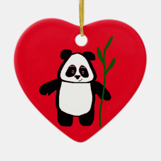 Bamboo the Panda Heart Ornament