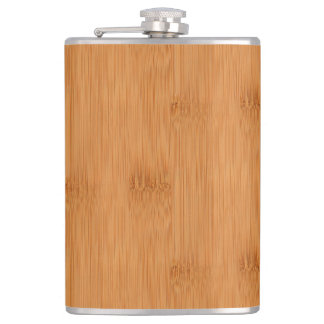 Bamboo Toast Wood Grain Look Hip Flask