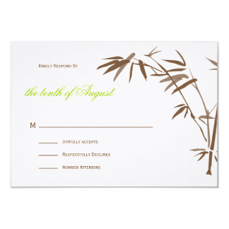 Bamboo Wedding RSVP cards |  Brown 9 Cm X 13 Cm Invitation Card