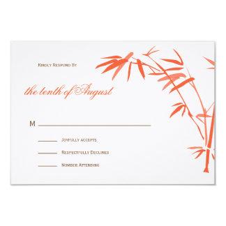 Bamboo Wedding RSVP cards |  Orange 9 Cm X 13 Cm Invitation Card
