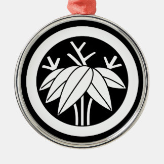 Bamboo with root in circle Silver-Colored round decoration