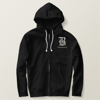 Bamboozled Men's Cotton Zip Hoodie- Black/White Embroidered Hoodie
