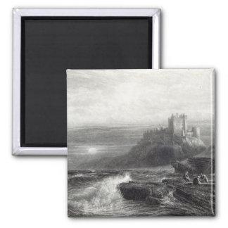 Bamborough Castle, engraved by S. Bradshaw Square Magnet