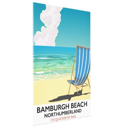 Bamburgh Beach Northumberland train poster Canvas Print
