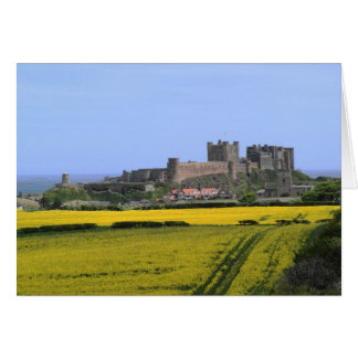 Bamburgh Castle - Northumberland with coastal back Card