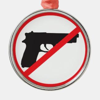 Ban Guns Anti-Gun Pacifist Silver-Colored Round Decoration
