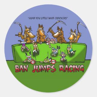 BAN HORSE JUMPS RACING STICKER