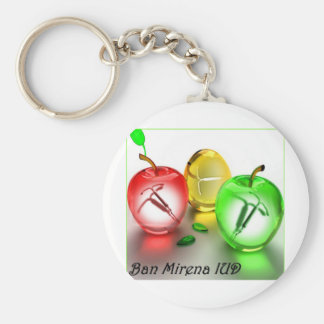 Ban Mirena IUD- colored apples Basic Round Button Key Ring