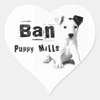Ban Puppy Mills Animal Rights Heart Sticker