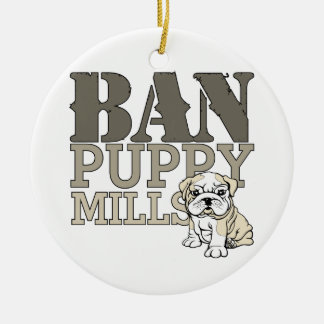 Ban Puppy Mills Double-Sided Ceramic Round Christmas Ornament