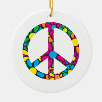 Ban The Bomb Round Ceramic Decoration
