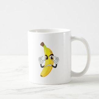 banana angry smiley basic white mug